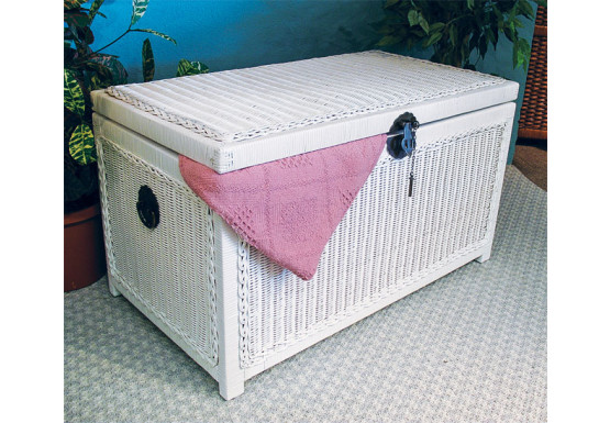 Wicker Trunk for Storage (Large) - WHITE