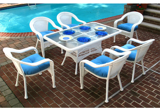 Resin Wicker Dining Set 60 x 36 Rectangular - WHITE