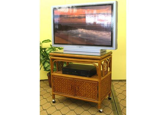 Venetian Rattan TV Stand with Swivel Top, Glass and Castors - TEAWASH