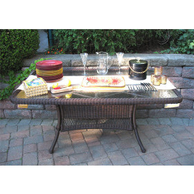 """Resin Wicker Dining Table 60"""" x 36"""" Rectangle"""