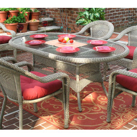 """Resin Wicker Dining Table 72"""" Oval"""