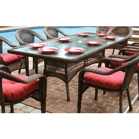 """Resin Wicker Dining Table 96"""" Rectangle"""