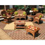 4 Piece Diamond  Natural Wicker Set  (2) Chairs - TEAWASH
