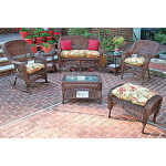 4 Piece Belair Resin Wicker Furniture Set (1) Love Seat  (2) Chairs (1) Coffee Table - ANTIQUE BROWN