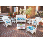 4 Piece Belair Resin Wicker Furniture Set (1) Love Seat  (2) Chairs (1) Coffee Table - WHITE