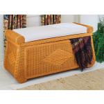 Woodlined Wicker Blanket Chest or Trunk - CARAMEL