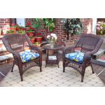 Bel Aire Resin Wicker Chat Set (2) Chairs (1) Round Table - ANTIQUE BROWN