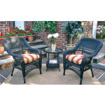 Bel Aire Resin Wicker Chat Set (2) Chairs (1) Round Table - BLACK