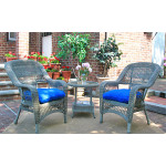 Bel Aire Resin Wicker Chat Set (2) Chairs (1) Round Table - DRIFTWOOD