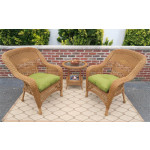 Bel Aire Resin Wicker Chat Set (2) Chairs (1) Round Table - GOLDEN HONEY