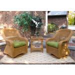 Bel Aire Resin Wicker Swivel Glider Chat Set (Square Table)  - GOLDEN HONEY