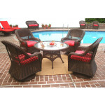 """Belaire Resin Wicker Swivel Glider Conversation Set (1) 24"""" High Table (4) Chairs - ANTIQUE BROWN"""