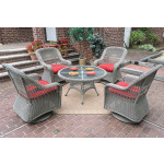 """Belaire Resin Wicker Swivel Glider Conversation Set (1) 24"""" High Table (4) Chairs - DRIFTWOOD"""