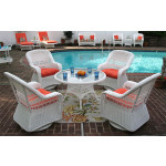"""Belaire Resin Wicker Swivel Glider Conversation Set (1) 24"""" High Table (4) Chairs - WHITE"""