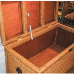 Woodlined Wicker Blanket Chest or Trunk - INTERIOR TRUNK WITH PNEUMATIC LIFTER