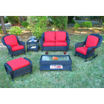 4 Piece Laguna Beach Resin Wicker Patio Furniture with Love Seat, (2) Chairs & Cocktail Table - BLACK