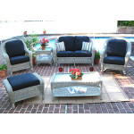 4 Piece Laguna Beach Resin Wicker Patio Furniture with Love Seat, (2) Chairs & Cocktail Table - DRIFTWOOD