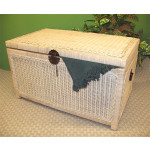 Wicker Trunk for Storage (Large) - WHITEWASH