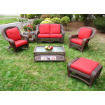 4 Piece Palm Springs Resin Wicker Set Love Seat, 2 Chairs & Cocktail Table - ANTIQUE BROWN