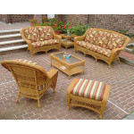 6 Piece Palm Springs Resin Wicker Furniture Set. Sofa, Love Seat, Chair, Ottoman, Cocktail & End Table - GOLDEN HONEY