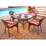 "Resin Wicker Dining Set 48"" Round - ANTIQUE BROWN"