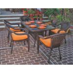 Resin Wicker Dining Set 60 x 36 Rectangular - ANTIQUE BROWN