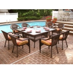 "Resin Wicker Dining Set 66"" Square - ANTIQUE BROWN"