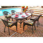 """Resin Wicker Dining Set 72""""' Oval - ANTIQUE BROWN"""