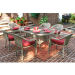 """Resin Wicker Dining Set 72""""' Oval - DRIFTWOOD"""