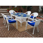 """Resin Wicker Dining Set 72""""' Oval - WHITE"""