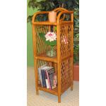 Pole Rattan Slim & Tall 3-Tier Wicker Floor Shelf - TEAWASH