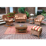 4 Piece Naples Wicker Furniture Set with 2 Chairs - TEAWASH