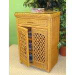 Single Lattice Wicker Cabinet - CARAMEL
