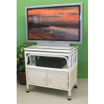 Venetian Rattan TV Stand with Swivel Top, Glass and Castors - WHITE
