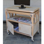 Venetian Rattan TV Stand with Swivel Top, Glass and Castors - WHITEWASH