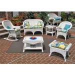 4 Piece Diamond  Natural Wicker Set  (2) Chairs - WHITE